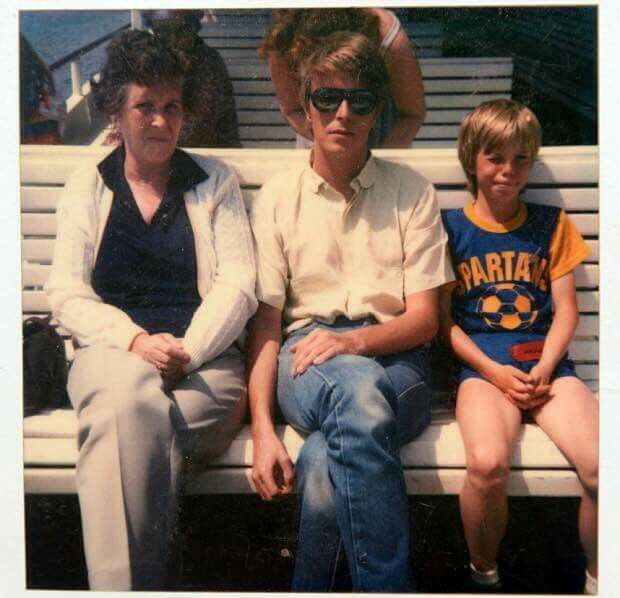 David Bowie with his mom and his son, Duncan.