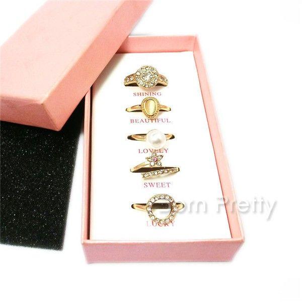 $6.99 5Pcs/set Flower Pearl Rings Set Rhinestone Decor Open Rings Tail Ring - BornPrettyStore.com