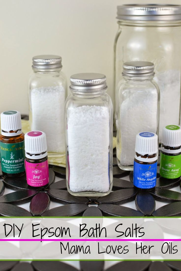 Have you ever wondered what to do with your empty Essential Oil bottles? Make your own DIY Epsom Bath Salts Using Essential Oils from Mama Loves Her Oils!