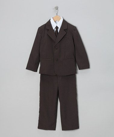 Look what I found on #zulily! Brown Pinstripe Suit Set - Infant, Toddler & Boys by LA Sun #zulilyfinds