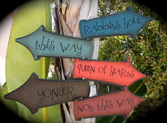 Mad Hatter's Tea Party/Alice in Wonderland directional signs...DARK and WICKED colors...NEW
