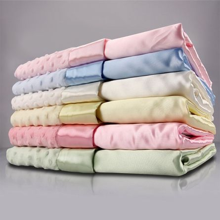 Velour Dot Baby Blanket with Satin Back