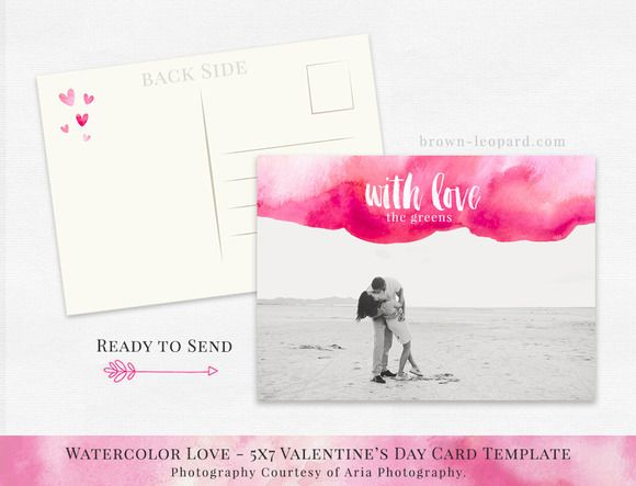 "Valentine's Day Card Template - 5x7""  Photoshop psd layered file. Pink watercolor design with brush calligraphy text."