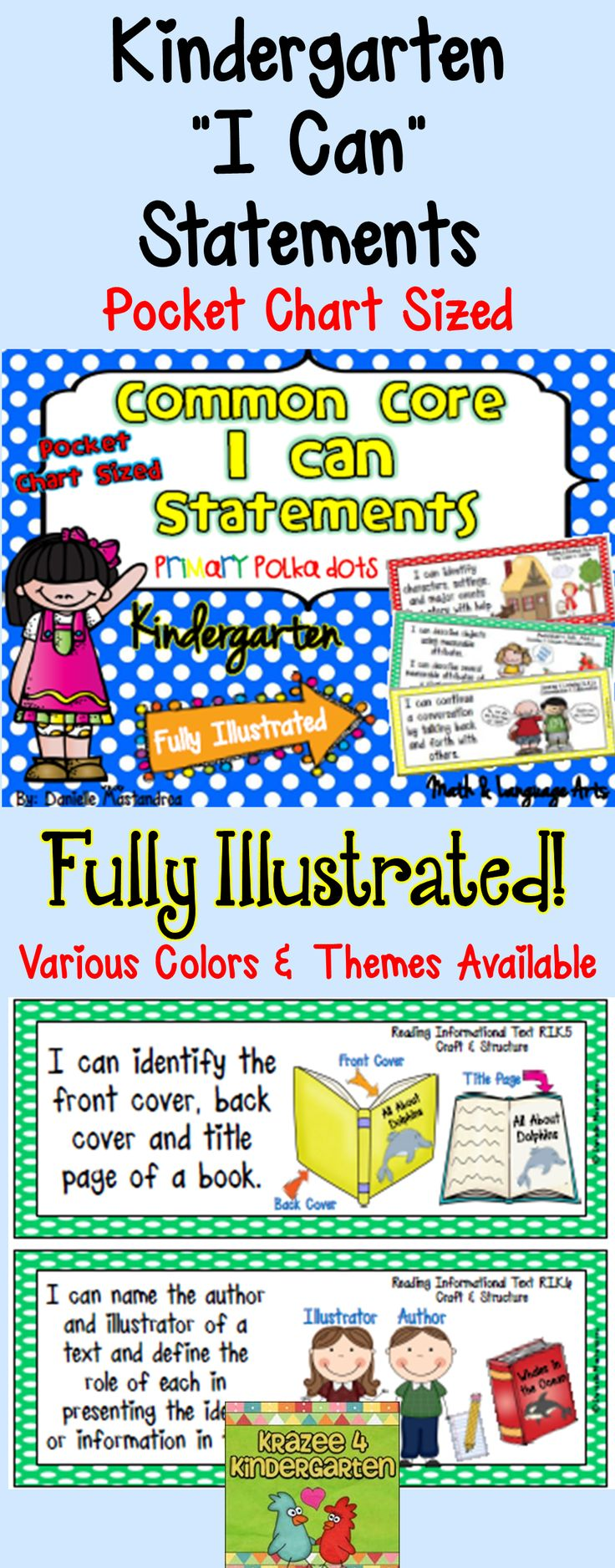 Best 25 kindergarten common core ideas on pinterest kindergarten common core i can statements pocket chart sized polka dots robcynllc Images