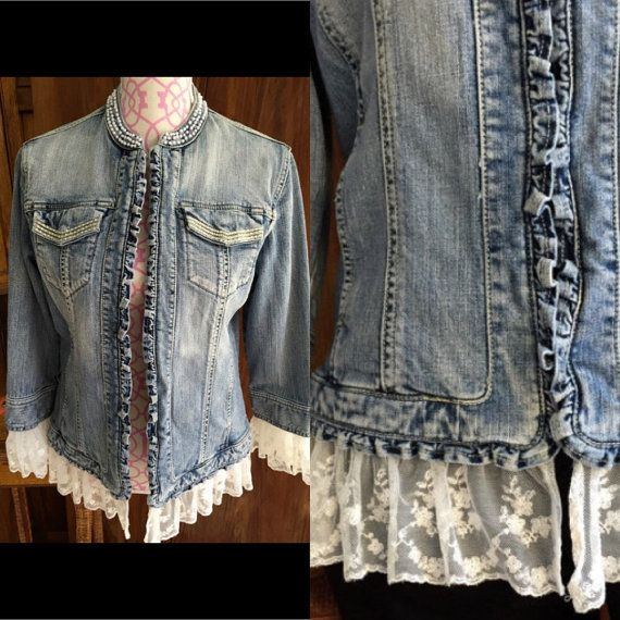Women's Up Cycled BOHO Denim Jacket Pearls by ScrumpdiddlyDesigns