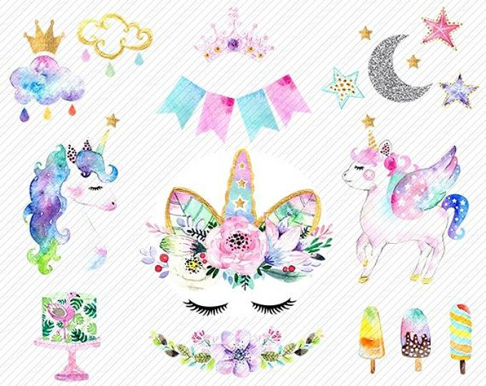 Cute Rainbow Unicorn Wallpapers Watercolor Unicorn Clipart Unicorn Printable Baby Shower