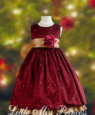 Elegant Wine Polka Dot Christmas Dress:(Girls Christmas Dresses)