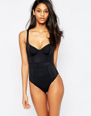 ASOS FULLER BUST Exclusive Underwired Panelled Swimsuit DD-G
