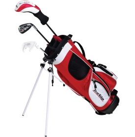 bought-Jaden- the smallest set for height- Prepare your little golfer for success on the course with a HT Max-J Complete Set. The titanium matrix metalwood features a high MOI design to promote heightened launch and added distance. A perimeter weighted stainless steel iron offers an enlarged sweet spot to ensure the playability and forgiveness your aspiring golfer needs. A mallet-style putter and lightweight stand bag equip the Tour Edge® HT Max-J Complete Set with superior quality.