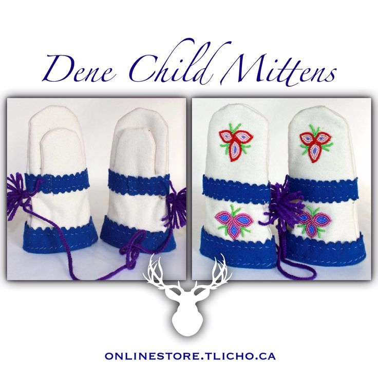 #Dene #Child #Mittens made by #Tlicho #Elder Mary Christine Chinkon from #Behchoko, #NT. Available -> http://onlinestore.tlicho.ca