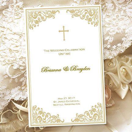 Catholic Wedding Program Faith Champagne Gold By