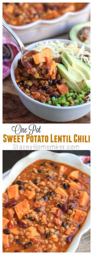 Flavor loaded sweet potato lentil chili is perfect for dinner all year-long, but especially on a cold winter night or meatless Monday! You only need one pot to make this soup, and you can easily customize it with whatever veggies you have in your fridge. It also has two secret ingredients that you'd never expect to find in chili!