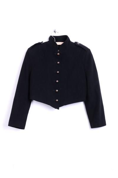 United Colors Of Benetton Womens 42 XL Blazer Cropped Jacket Wool Black Italy - RetrospectClothes