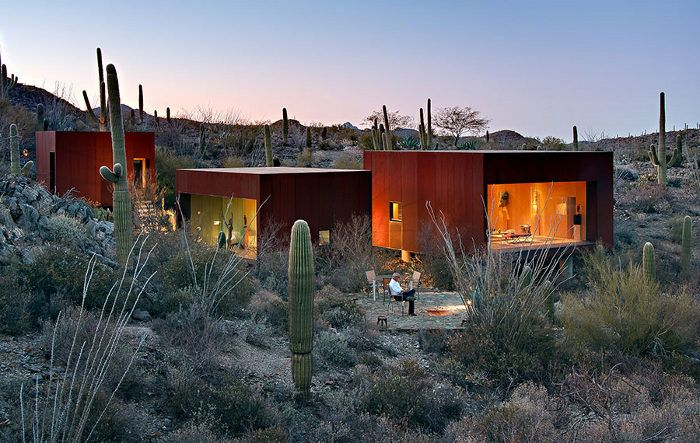 The Desert Nomad House, Tucson, Arizona | Three steel and glass cubes by Rick Joy Architects