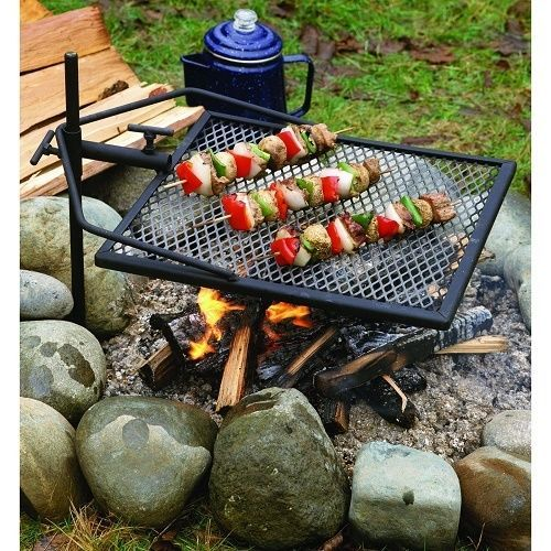 Campfire Grill Camping BBQ Steel Rack Cooking Outdoors  Portable Picnic Barbecue #CampfireGrillCamping