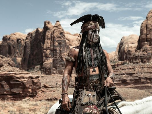 Johnny Depp Movies List | Johnny Depp as Tonto in 'The Lone Ranger.' (Photo: Peter Mountain ...