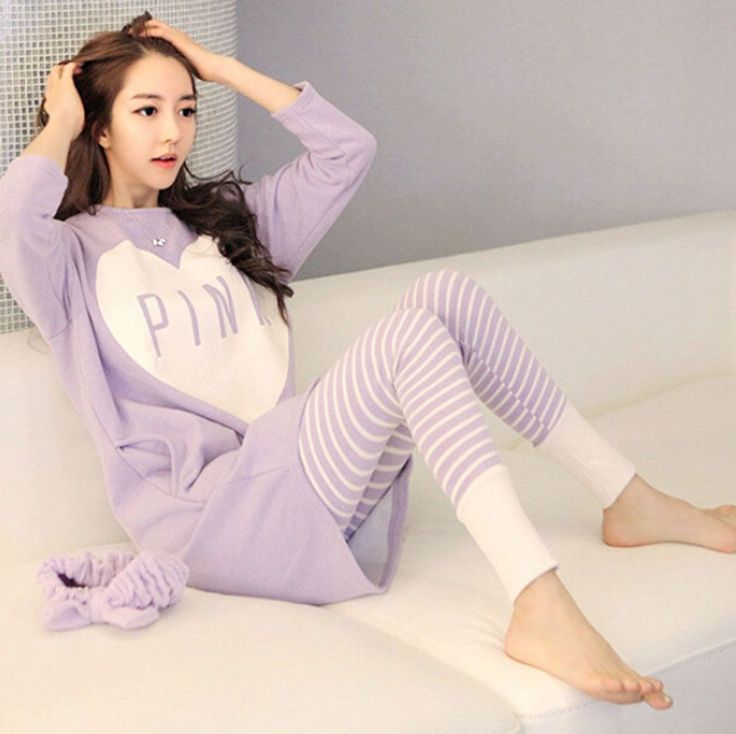 Womens Cartoon Sleepwear Pajamas Set Ladies Long Sleeve Cotton Cute Nightgown #Unbranded #Fashion