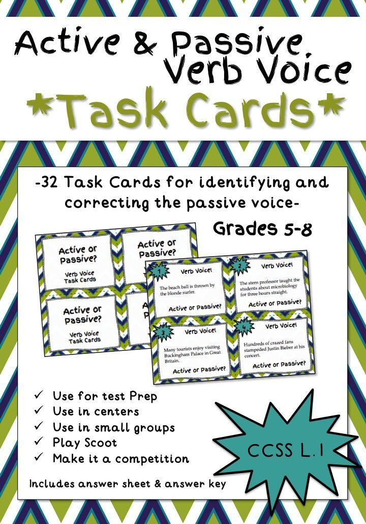 Active And Passive Verb Voice Task Cards Grades 5 8 Set Of 32