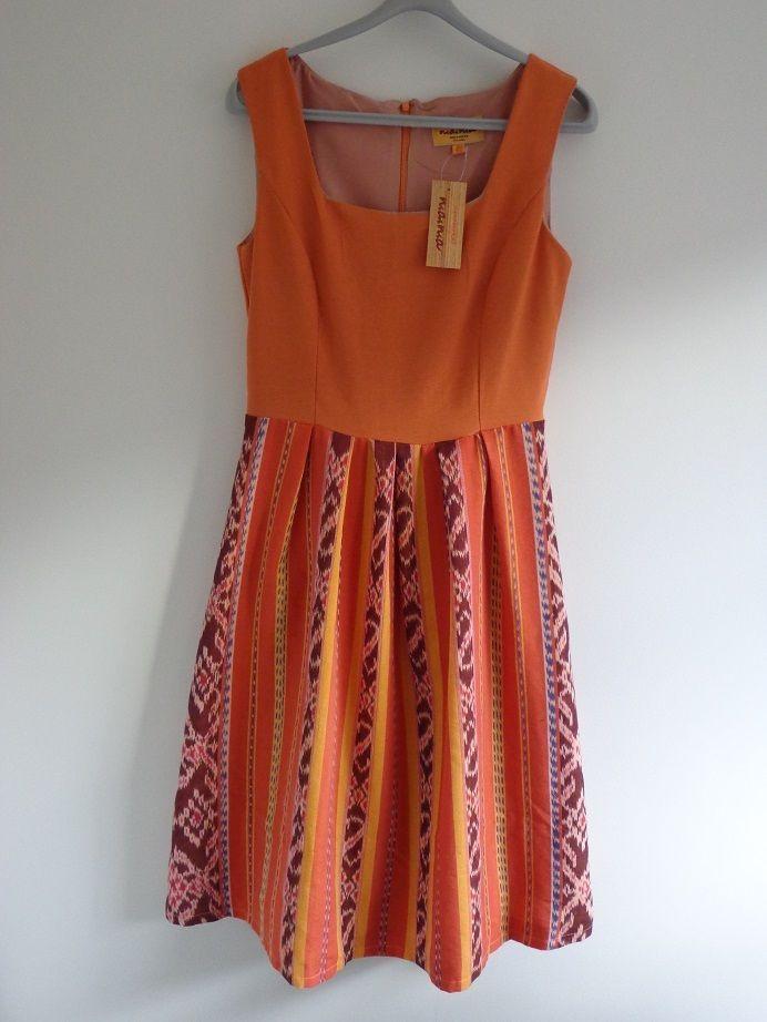 Orange Motif Ethnic Woman s Dress Summer Dress Beach Dress Size 10 - BNWT