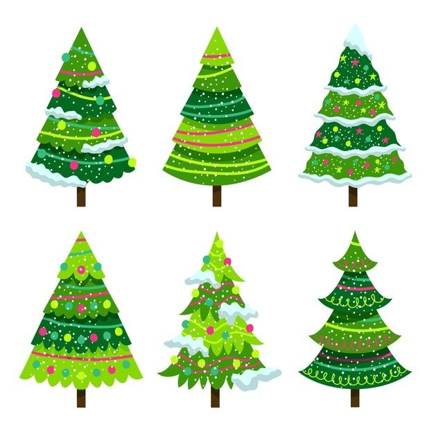 Download Flat Design Christmas Tree Collection For Free In 2020 Christmas Tree Collection Merry Christmas Background Christmas Lettering