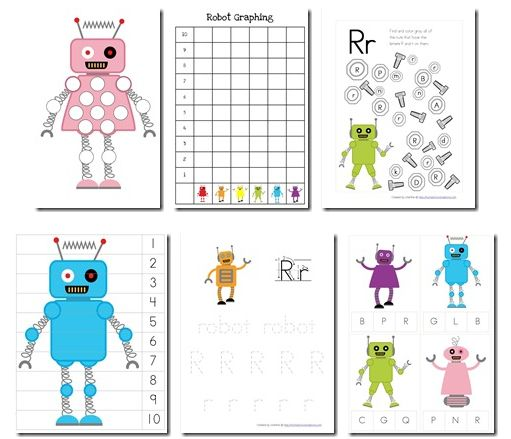 Download a free Robot Preschool Pack which has robot-themed worksheets for preschoolers.