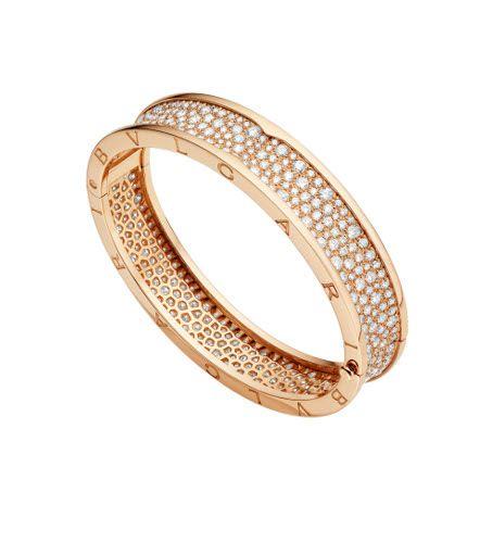 Brazalete Bzero1 en oro rosa y diamantes de Bulgari