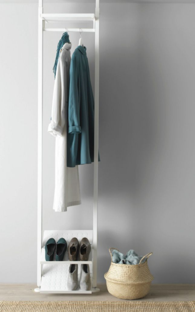 Create a small space open coat closet with this IKEA unit.