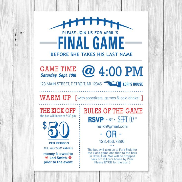 The Final Game - Football themed bachelorette party invite. Customizable to your favorite team!