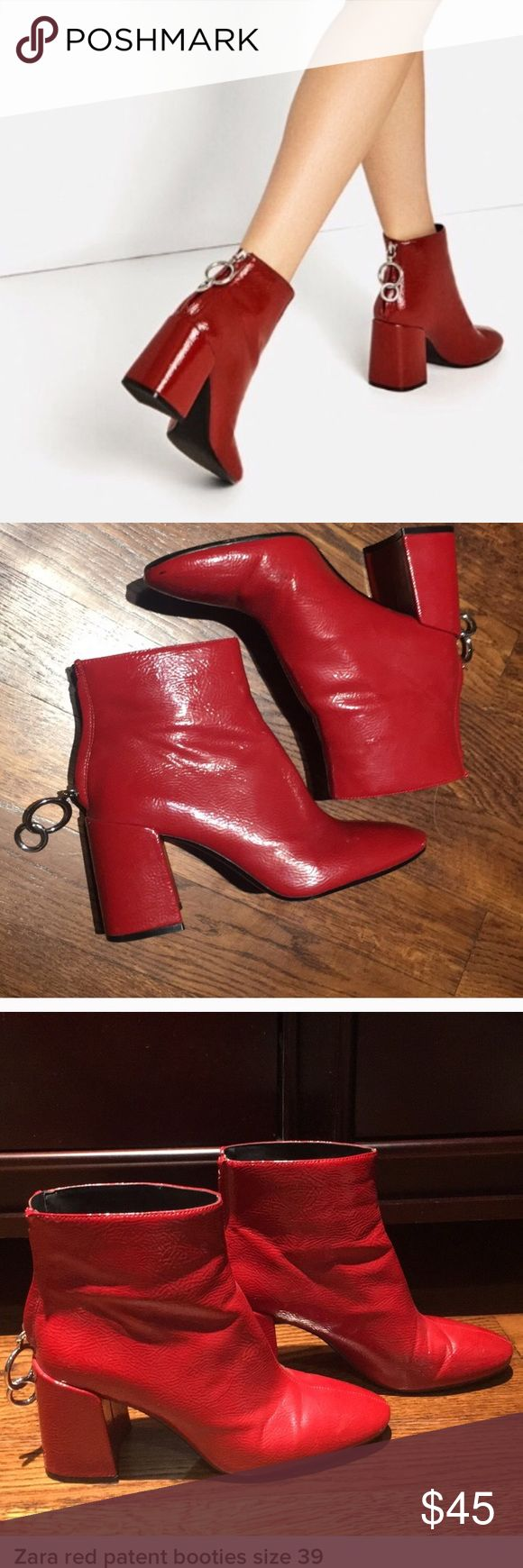 Zara Red patent booties size 39 Red patent leather Zara ankle booties worn twice in good condition. Size 39 UK or 8.5 US Zara Shoes Ankle Boots & Booties