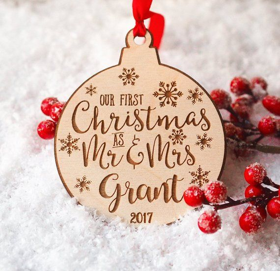 Our First Christmas Ornament Married Personalized Holiday Decor Mr Mrs Wedding Christmas Decorations Christmas Ornaments Our First Christmas Ornament Personalized Christmas Ornaments First Christmas Married
