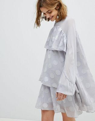 e2340894b7b Lost Ink Smock Dress With Sheer Spot Layers | looks | Smock dress ...