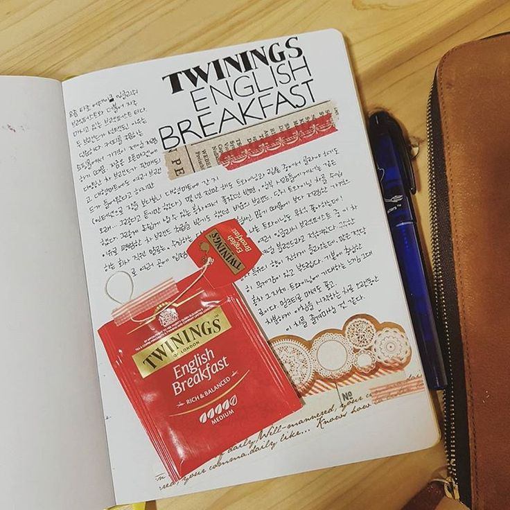 Twinings English Breakfast tea #tea #teabag #teatime #teajournal #teastagram #maskingtape #washitape #scrapbook #scrapbooking #journal #leuchtturm1917 #sketchbook #notebook #fountainpen #moomin #stationery