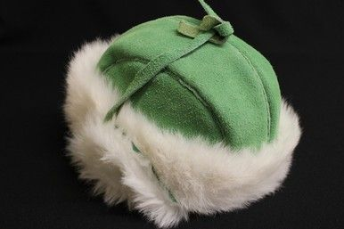 Keep Warm This Winter With Green Moose Hide Trapper Hat With White Rabbit Trim By The Native Art Gallery #Kitigan #Art #Native #Aboriginal