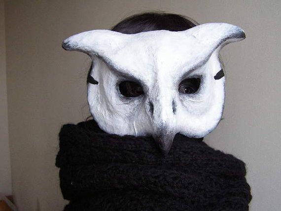 Paper mache mask Owl mask Bird mask White Owl by EpicFantasy