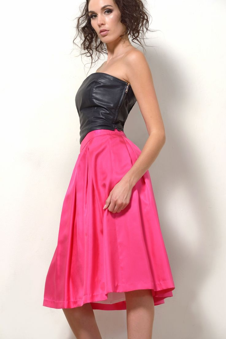"Silk skirt in pink ""Catch Me If You Can"" style with black leather bustier ""Diana Prince"" SHOP NOW at www.dontdopretty.com"