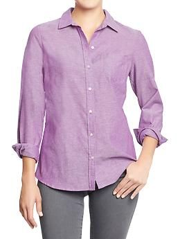 orchid purple Women's Oxford Shirts   Old Navy