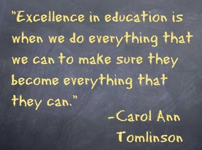 """""""Excellence in education means we do everything possible to ensure that"""