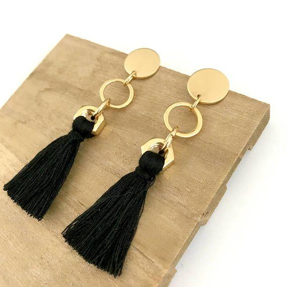 Pendientes de declaración de oro negro pendientes de borla