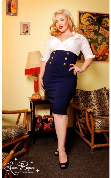 Military Secretary Dress in White and Navy - Plus Size - Plus Size - Clothing | Pinup Girl Clothing