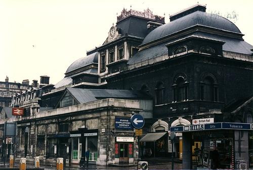 London Broad Street station exterior 1985 by jhazan99, via Flickr
