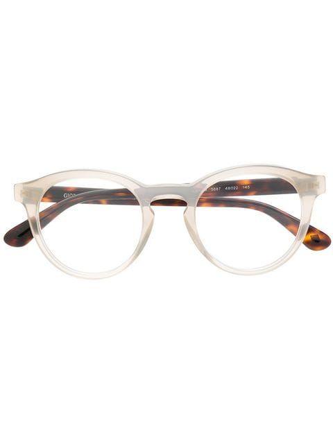 edcef153521 Shop Giorgio Armani contrast round glasses.