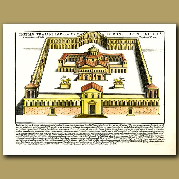 35 x 24.5 cm (13.8 x 9.8 inches).Thermae Traiani imperatoris in monte aventino ad89This is a large copperplate engraving, made in 1699 by Pietro Santi Bartoli. It was made on heavy weight,hand-made, chain-linked paper made from cotton. The engraving is on one side, the other side is blank. This is a