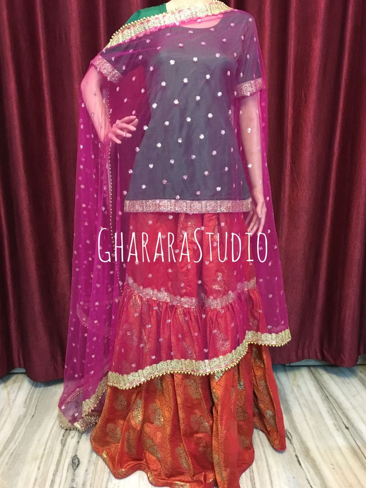 Gharara in orange and pink.  Customise it to any colour.    #Gharara #ghararastudio #ghararastudiobyshazia #ghararadesign #ghararah #ghararafashion #ghararalove #ghararadesign #bridal #bride #wedding #weddingdress #weddings #nikah #fashion #fashionblogger #fashionstylist #fashiongram #fashionblog #blog #indianfashionblogger #indianfashion #indianstylist #indiandress #indiantradition #instafashion #designergharara