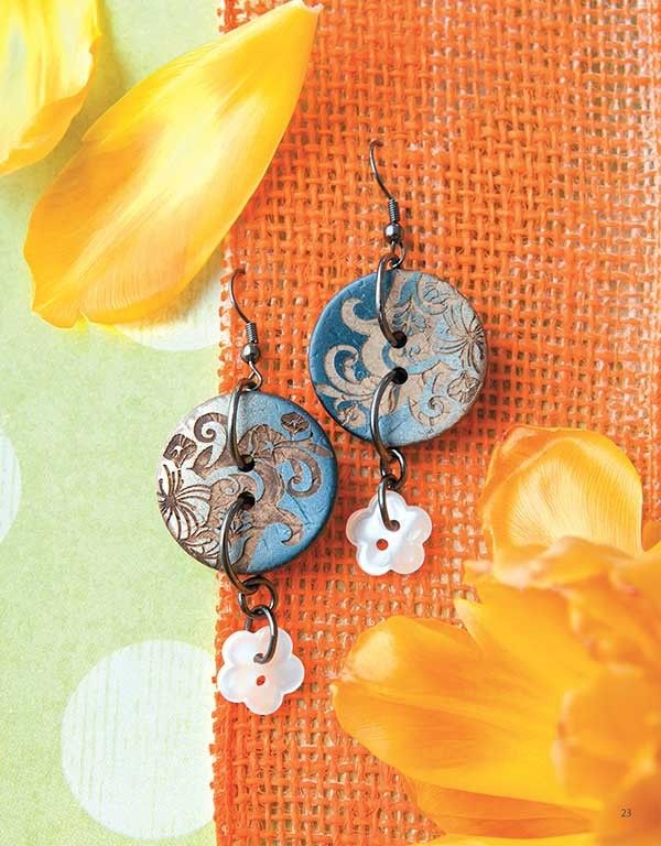 Button Lover's Jewelry - Easy to create with eye-catching buttons, the unique bracelets, necklaces, earrings, and rings in Button Lover's Jewelry from Leisure Arts make impressive accessories or gifts. Clear instructions guide you step by step. Projects include Leather Wrap Bracelet, Denim & Lace Cuff Bracelet, Floral Printed Earrings, Rhinestone Bracelet, Silver Stretch Bracelet, Chunky Button Necklace, Denim & Zipper Cuff Bracelet, Green Button Bracelet, Ribbon Pendant Necklace, Wooden…