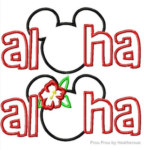Aloha Mister Mouse Hawaiian Ohana Machine Applique Embroidery Design, Multiple Sizes, including 4 INCH HOOP, $3.75