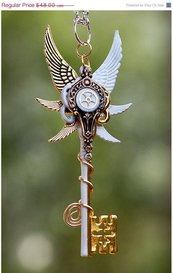 CHRISTMAS in JULY Seraphim's Steampunk Key Necklace