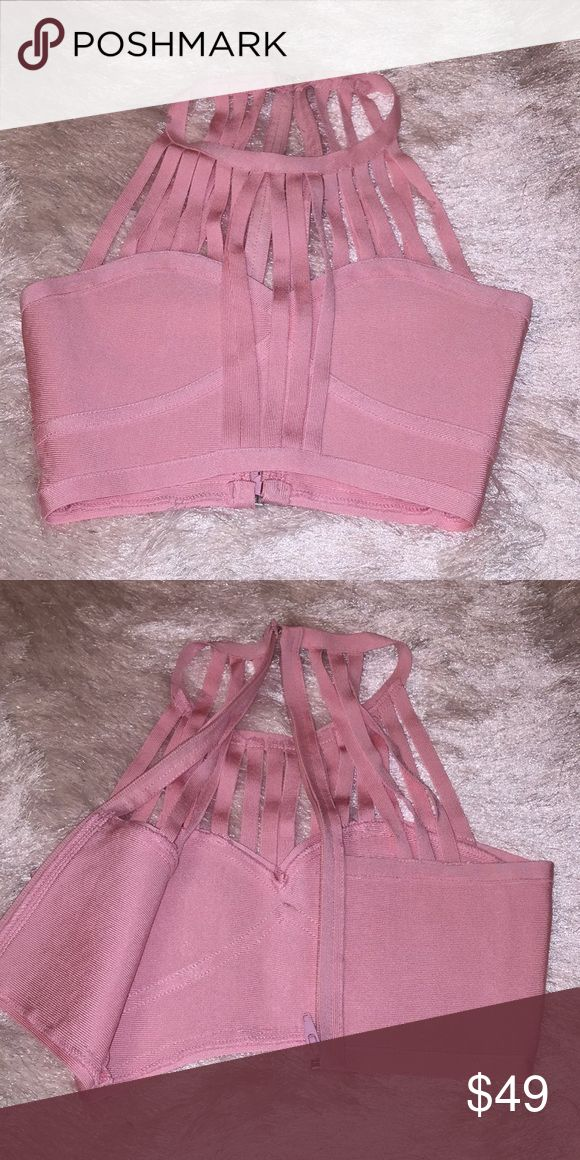 Pink Strappy Choker Crop Top Beautiful top,worn once, I cut the tag ,tag was way too big on this top. house of cb Tops Tank Tops