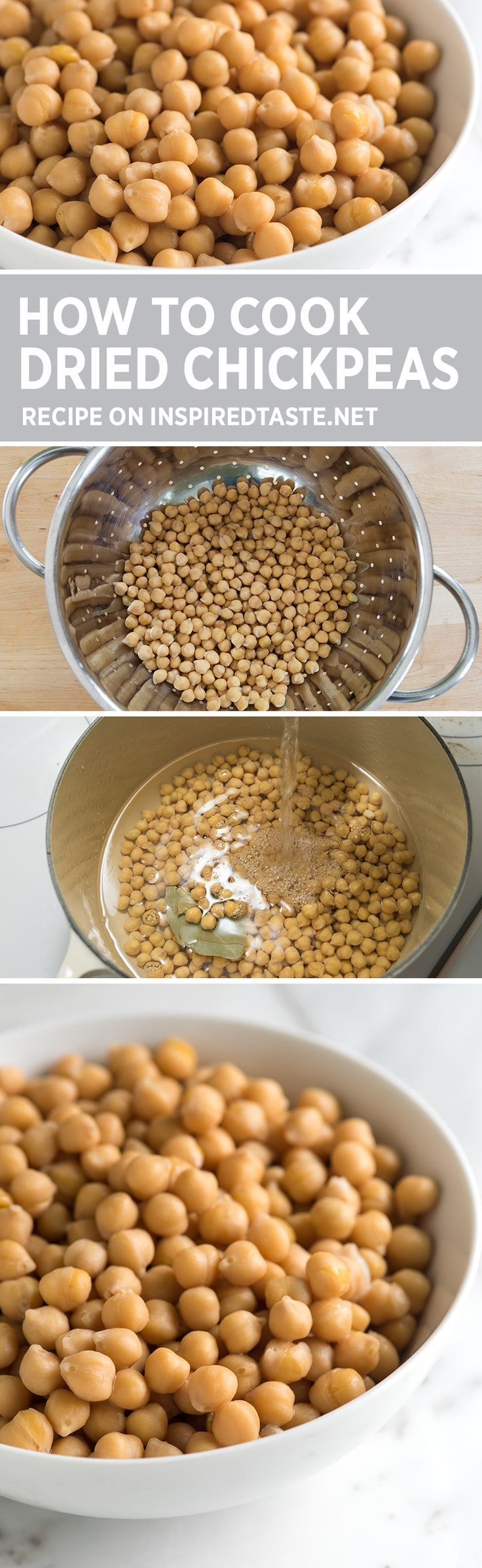 Three Simple Methods for How to Cook Dried Chickpeas - How to soak and cook chickpeas including how to cook them in a slow cooker. Plus how to store them and a few ideas for using them. #chickpeas
