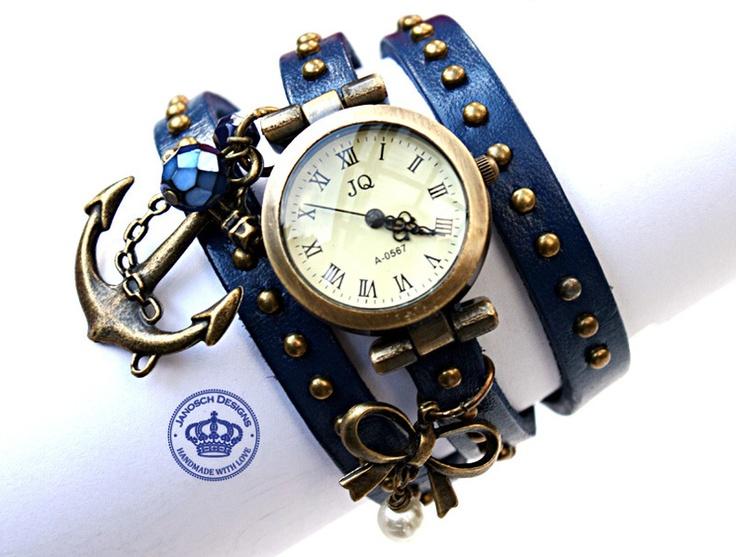 Ein wunderschönes Schmuckstück für Dich oder Deine Liebste(n). Echt Leder Armband Uhr.  Das Armband passt an jedes Gelenk und wird per Loch und ...
