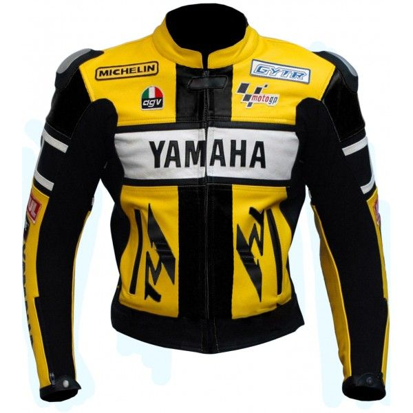 yamaha leather jacket. yamaha yzf-r1 46 rossi yellow motorbike leather jacket men